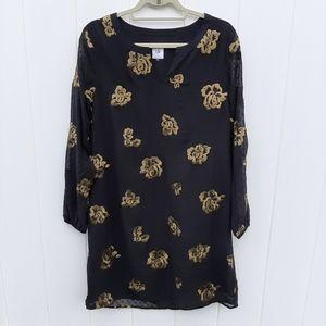 CABi Black Gold Rose Sheer Sleeve Dress